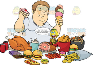 Overweight Man Indulging In Lots Of Fattening Foods