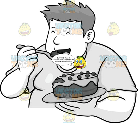 Overweight Man Enjoying Dessert
