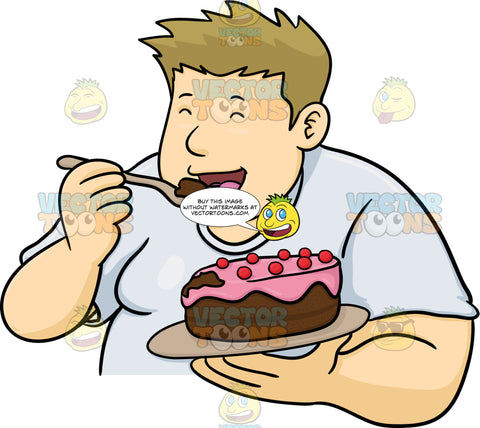 Overweight Man Enjoying A Cake