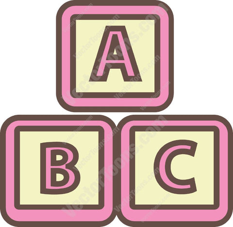 Three Pink And Yellow Alphabet Blocks