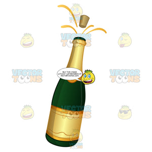 Champagne Bottle With The Cork Popping Out