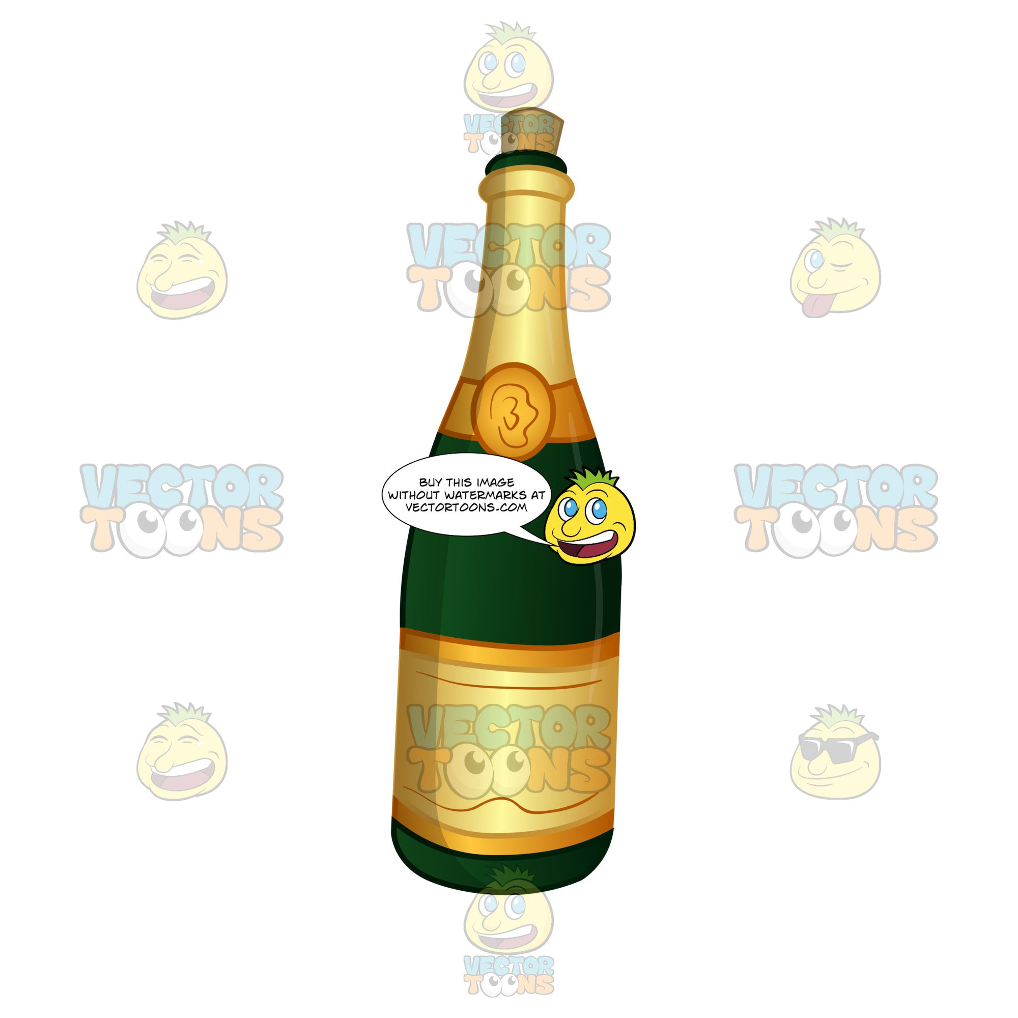 Champagne Bottle With The Cork In It