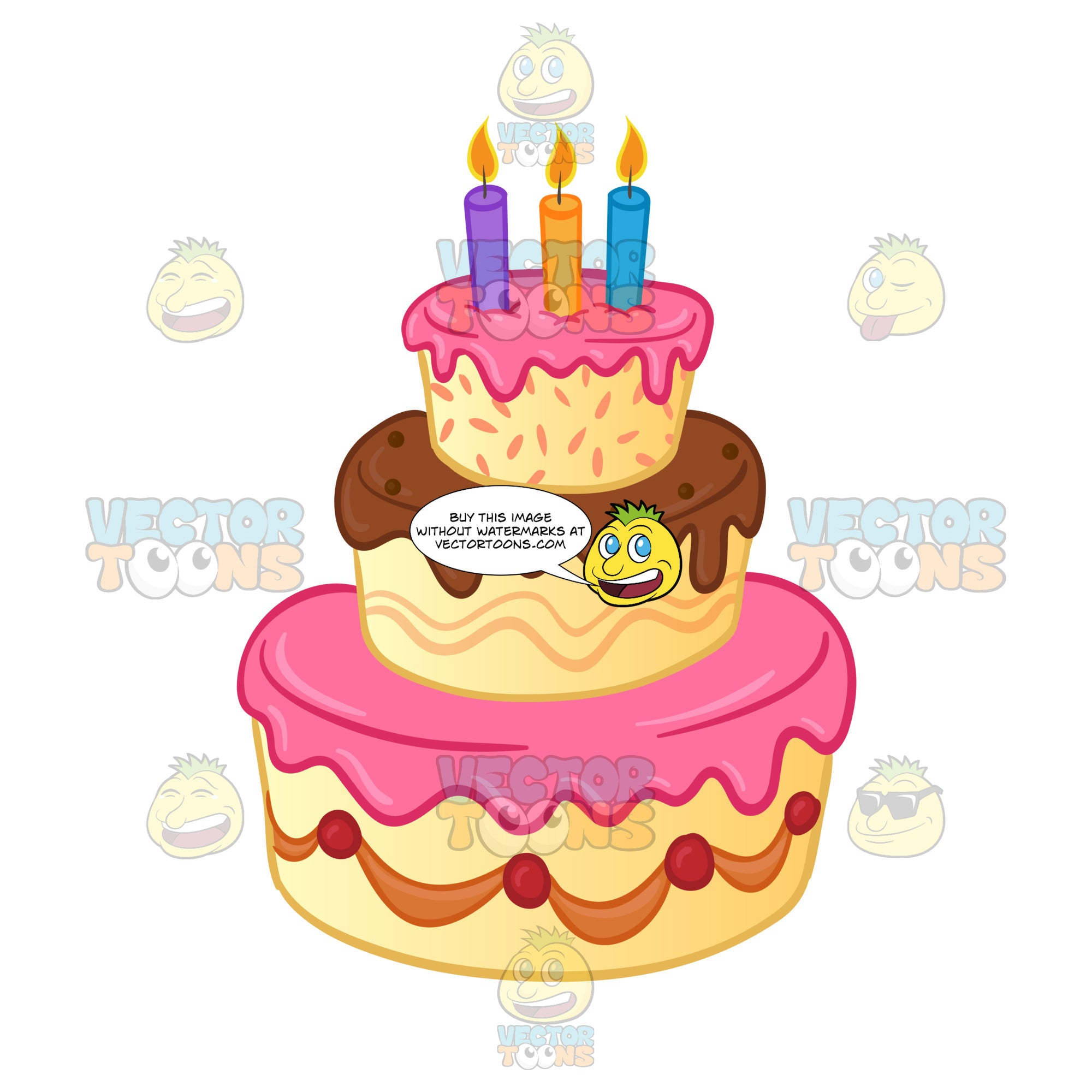 Three Tiered Birthday Cake With Lit Candles And Pink Brown Frostin Clipart Cartoons By VectorToons