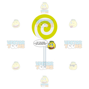 Lime Green And White Swirled Lollipop