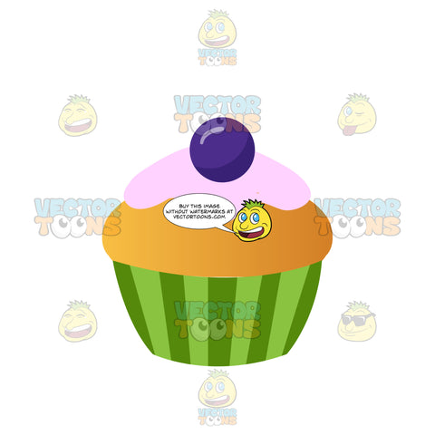 Vanilla Cupcake With Pink Icing And A Purple Decoration On Top