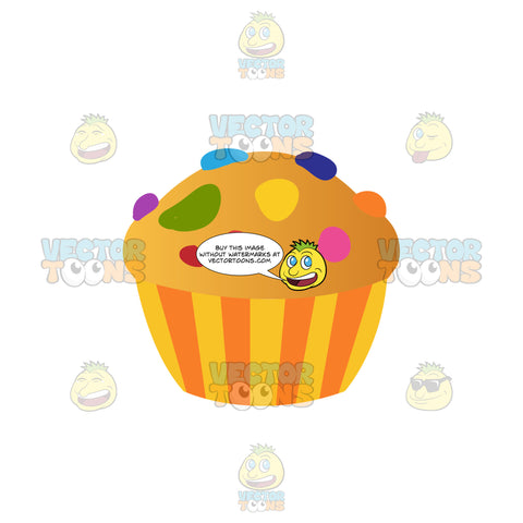 Vanilla Cupcake With Pieces Of Candy On Top