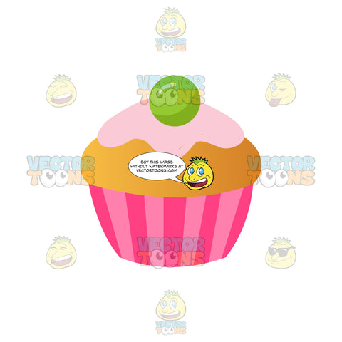 Vanilla Cupcake With Pink Icing And A Green Decoration On Top