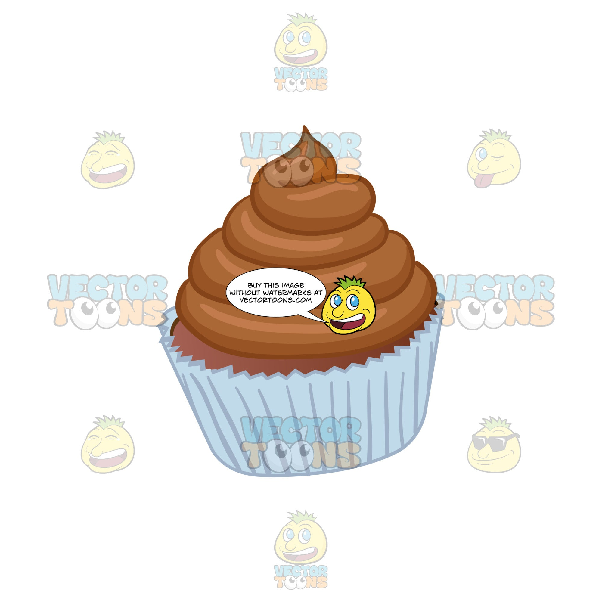 Cupcake With Brown Swirled Frosting