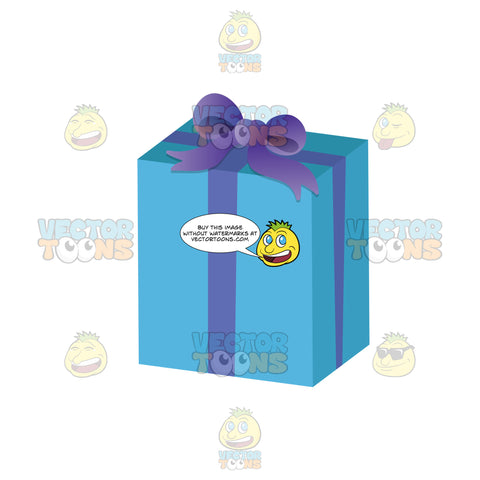 Gift Wrapped In Blue Paper With Purple Ribbon