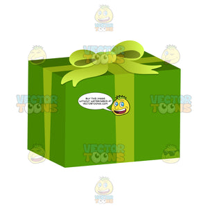 Gift Wrapped In Green Paper With Green Ribbon