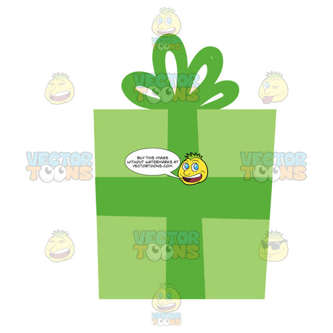 Gift Wrapped In Green Paper With A Green Bow On Top