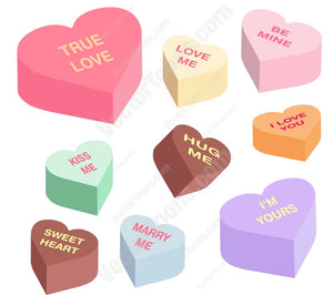 Heart Shaped Candies With Words On Them