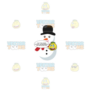 Snowman With Top Hat And Red Scarf