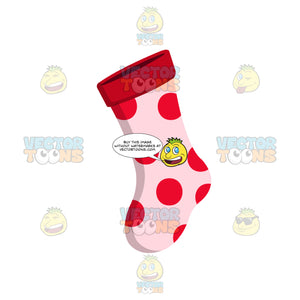 Pink Sock With Red Polka Dots