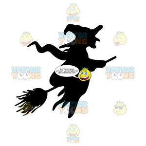 Silhouette Of A Witch On A Broom