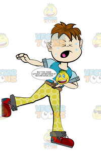 Boy In Yellow Pants And A Blue Shirt Balancing On One Leg And Crying