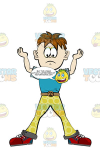 Boy In Yellow Pants And A Blue Shirt Standing With His Feet Apart And Both Arms In The Air