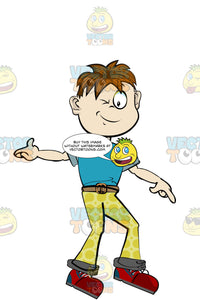 Boy In Yellow Pants And A Blue Shirt Winking