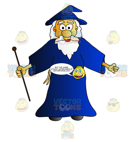 Wizard Holding A Stick With Arms Wide Open