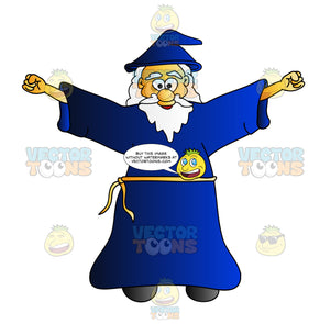 Cheerful Wizard Raising His Arms