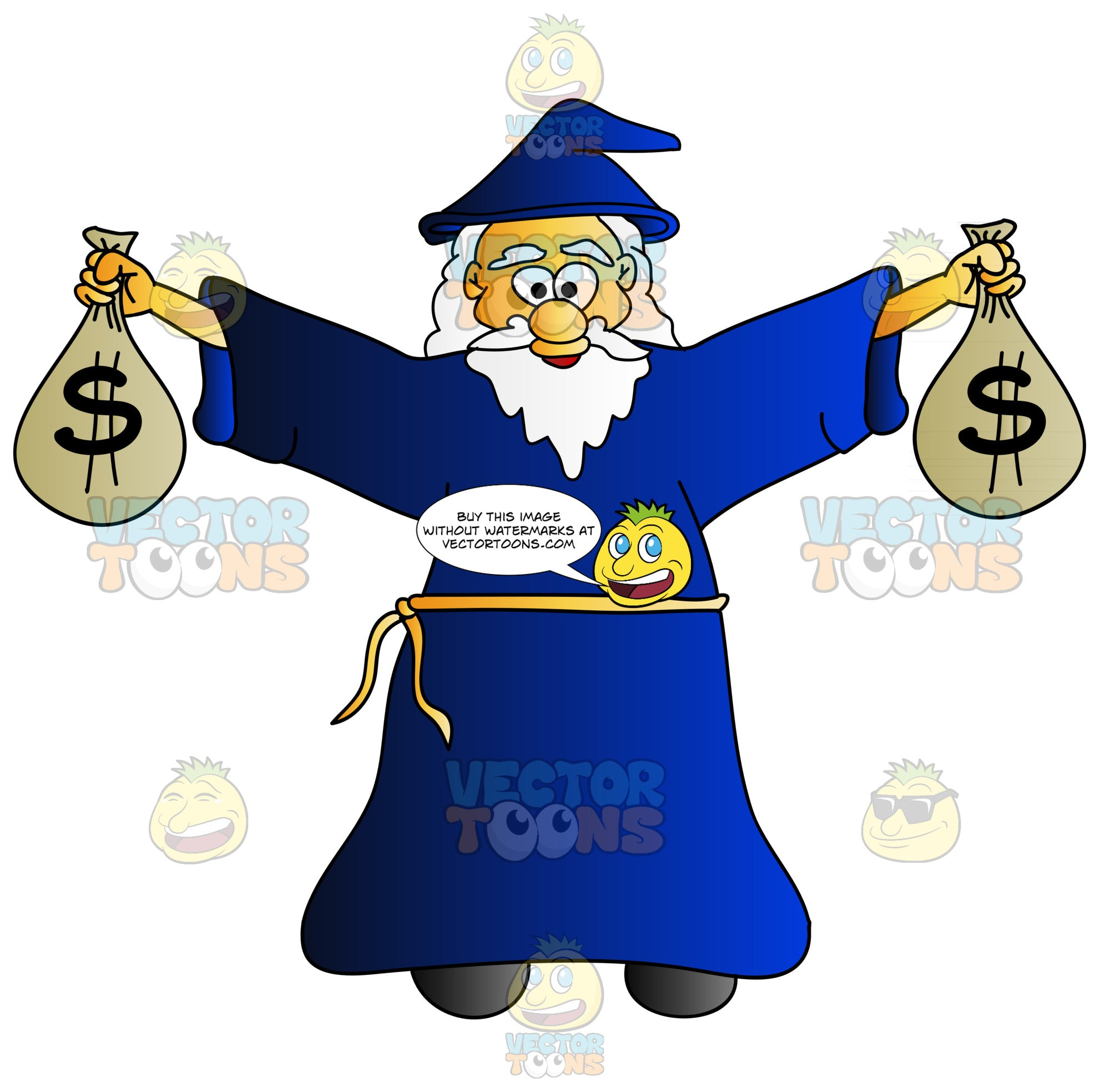 Cheerful Old Wizard Carrying Bags Of Money Clipart Cartoons By Vectortoons