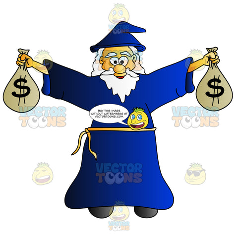 Cheerful Old Wizard Carrying Bags Of Money
