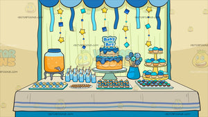 A Baby Shower Pastry Buffet Table Background