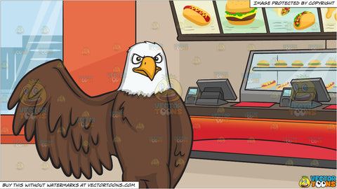 A bald eagle raising its right wing and Inside A Fast Food Restaurant Background
