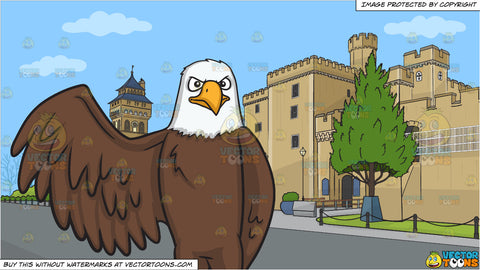 A bald eagle raising its right wing and The Exterior Of Cardiff Castle Background