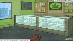 A bald eagle soaring into the sky and Inside A Marijuana Dispensary Background