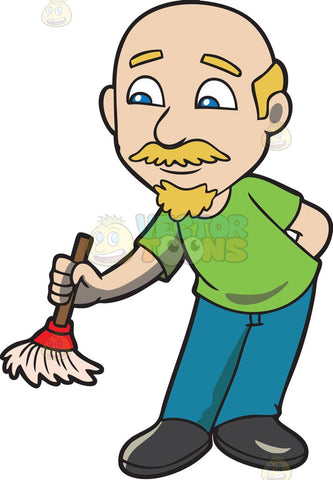 A bald man dusting with a small broom