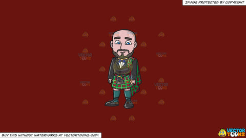 Cartoon clipart: a bald man wearing a ceremonial kilt on a solid maroon 69140e background