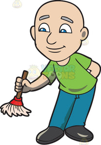 A bald man with a small broom