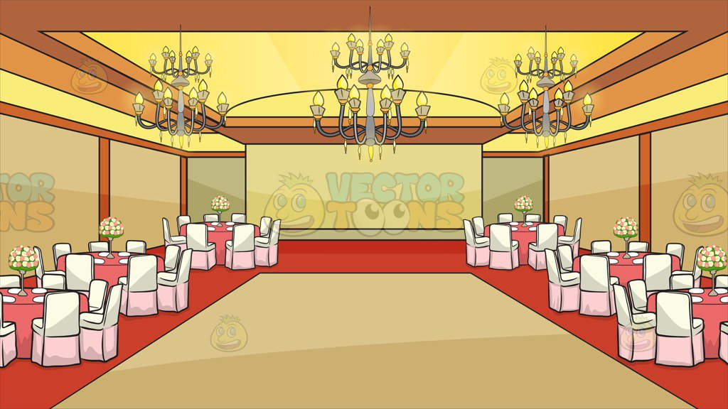 A Ballroom Set Up For A Wedding Background