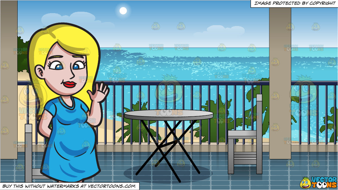 8570a35d338 A Beautiful And Friendly Pregnant Woman and A Hotel Balcony Overlooking The  Beach Background