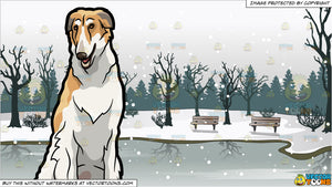 A Beautiful Borzoi Pet Dog and Frozen Pond In A Park Background