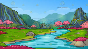 A Beautiful Cherry Blossoms Valley Background