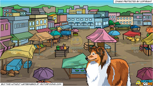 A Beautiful Collie and View Of An Outdoor Rural Market Background