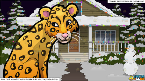 A Beautiful Leopard Sunning Itself and The Exterior Of A House Lit Up With Christmas Lights Background
