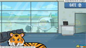 A Beautiful Tiger Lying Down and Airport Boarding Gate Background