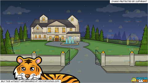 A Beautiful Tiger Lying Down and Driveway To A Mansion Background