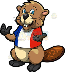 A Beaver Wearing A Red White And Blue Shirt