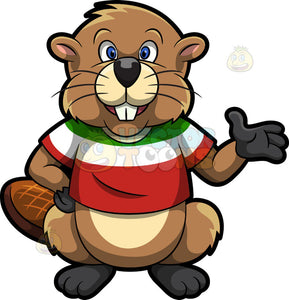 A Beaver Wearing A Red White And Green Shirt