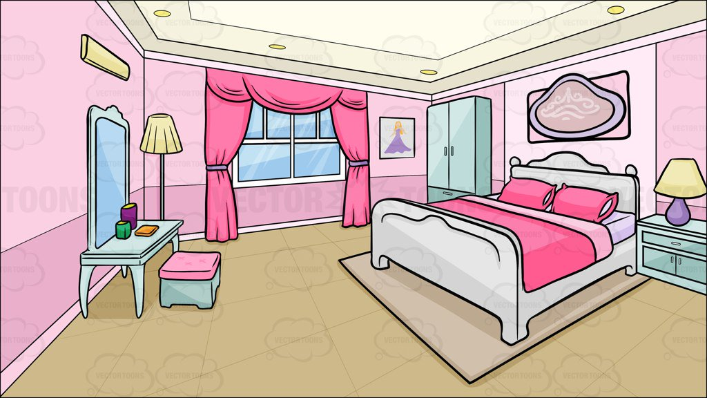A Bedroom Of A Teenage Girl Background Clipart Cartoons