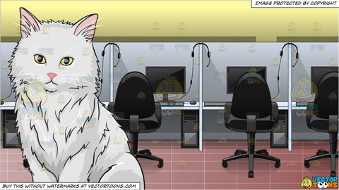 A big fluffy white cat and Inside A Call Center