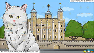 A big fluffy white cat and The Tower Of London Background