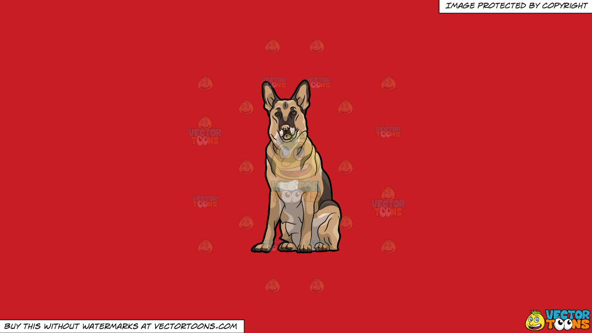 Clipart: A Big German Shepherd Dog Sitting Down on a Solid Fire Engine Red  C81D25 Background
