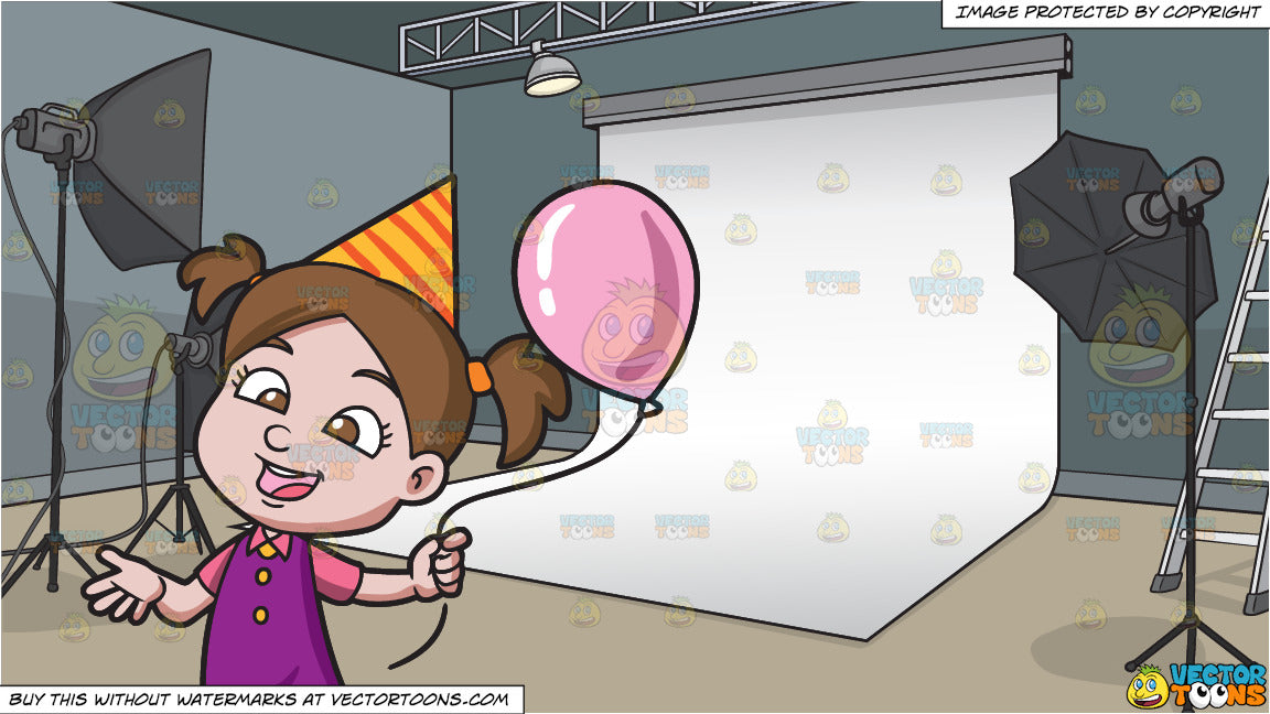 A Birthday Girl With Her Balloon And Photo Studio Background