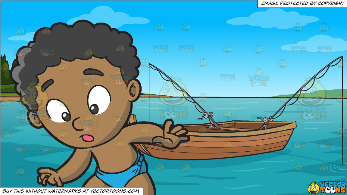 995d4c14050cc A Black Baby Boy Finding Something Interesting On The Floor and Fishing  Boat On The Lake Background