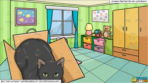 A Black Cat In A Box and A Bedroom Of A Baby Background